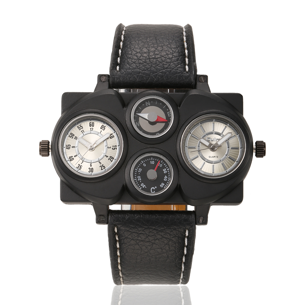 Mens OULM Casual Watch Multiple Time Zone Sports watches Cycling quartz watch Steel Case leather strap wristwatches<br><br>Aliexpress