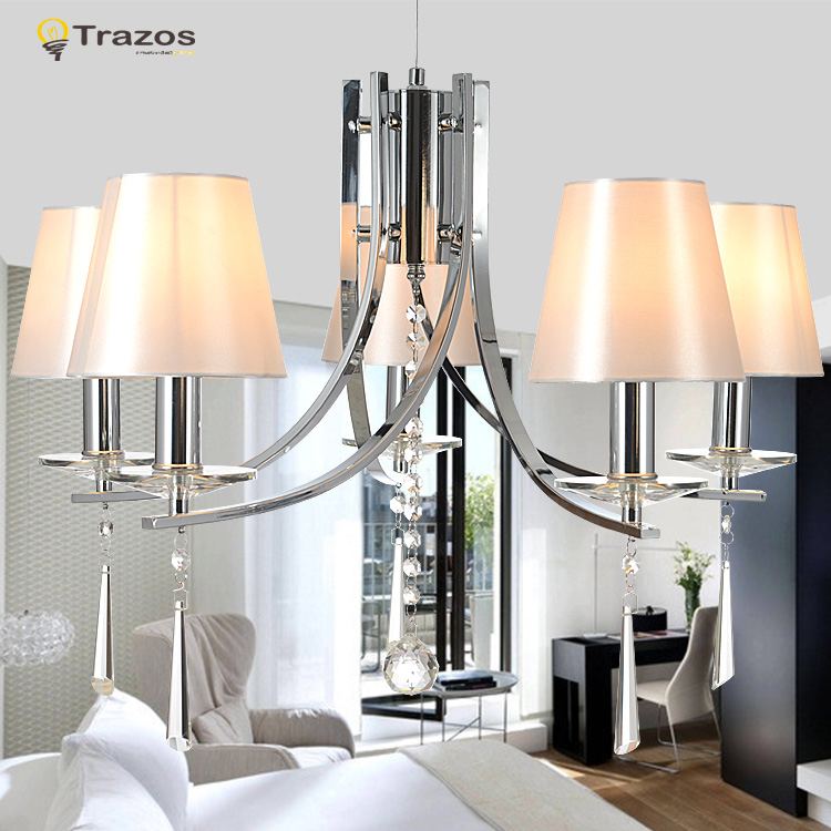 2015 New classic led Chandelier with crystal pendants lustre de cristal modernos white shade iron chandelier free shipping<br><br>Aliexpress