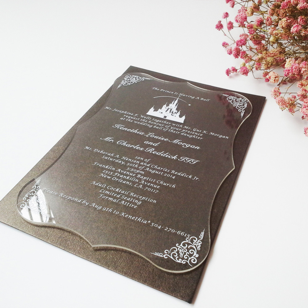 Sample order for Clear acrylic wedding invitation card scroll shape silk screen letters(China (Mainland))