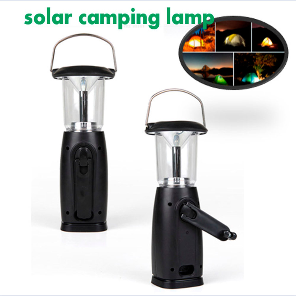 Multifunctional camp light Outdoor 6 LED Solar Dynamo Portable Hand Crank Light Lights Camping Camping Hiking light(China (Mainland))