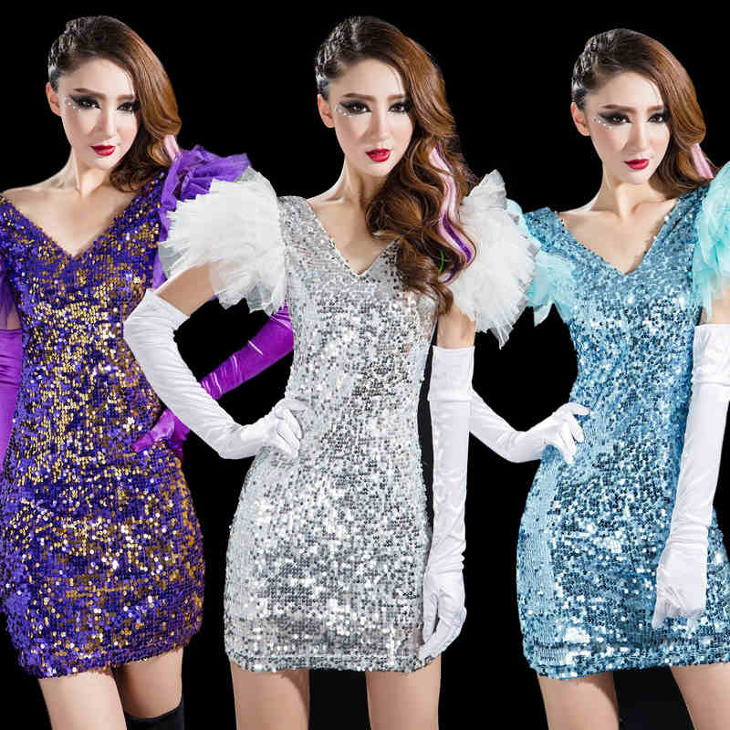 DS costumes fashion show costumes nightclub singer sexy sequined dress ladies modern dance performance clothing(China (Mainland))