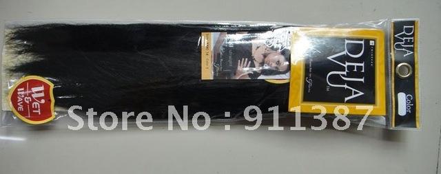 "DEJAVU brand  Human hair weft  YAKI straight hair Machine Hair Weaving black  8""-20"" inch free shipping"