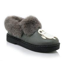 ENMAYLA kış sıcak kürk Flats çizmeler kadın Slip-on rahat ayakkabılar kadın sevimli yarım çizmeler Flats kızlar ayakkabı siyah gri beyaz ayakkabı(China)