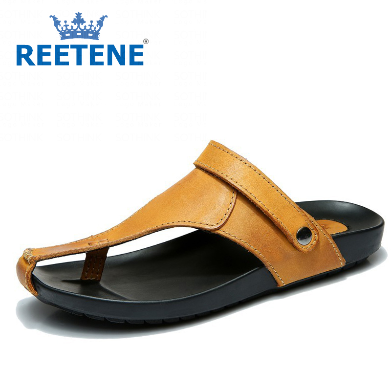 Genuine Leather Men Sandals Summer Casual Beach Shoes Flip Flops Slippers - REETENE store