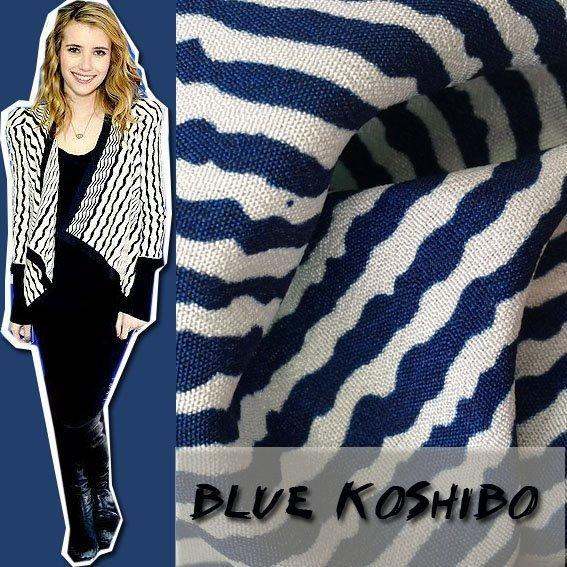 100% Polyester Blue Color Stripe Koshibo  Printing   Fabric