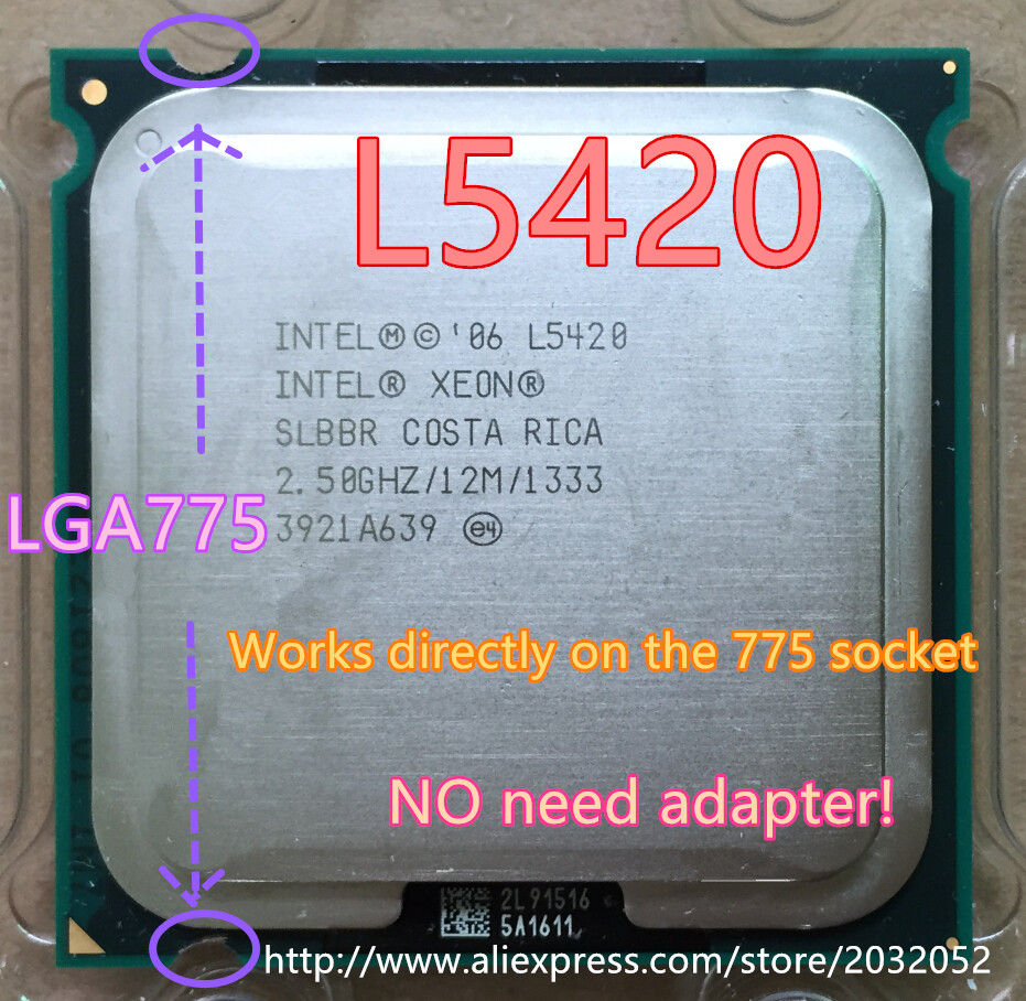 lntel Xeon L5420 2.5GHz/12M/1333Mhz/CPU equal to LGA775 Core 2 Quad Q9300 CPU,works on LGA775 mainboard no need adapter(China (Mainland))