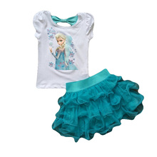 Children's Suit 2016 New Girls  Princess  Dress + T shirt 2 Pcs Set 2-10 Age Layered Tutu Dress Sets Clothing Sets (China (Mainland))