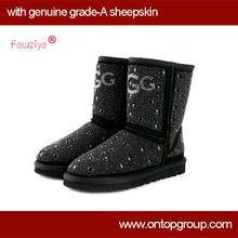 Big discount Genuine sheepskin Pearl studded luxurious woman boot(China (Mainland))