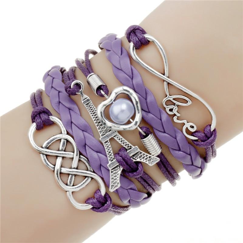 Ювелирные изделия кожа фиолетовый Эйфелева Башня любовь Двойного бесконечного многослойные браслеты заводская цена оптовая pulseira couro