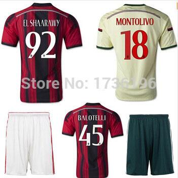 High quality kits 2014 15 Italy AC Milan soccer jerseys+short KAKA BALOTELLI home football shirt away soccer uniforms sets+logo(China (Mainland))