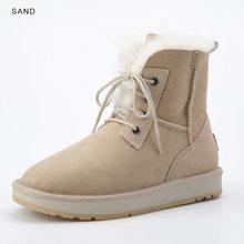 INOE Mode Schapenvacht Suede Leer Wol Bont Gevoerde Vrouwen Casual Korte Enkellaarsjes Winter Laarzen voor Dames Lace Up Snowboots schoenen(China)