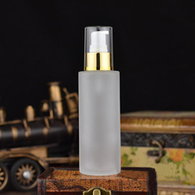 100ML  frosted glass bottle with gold press pump for lotion/emulsion/serum/foundation/gel /essence cosmetic packing glass bottle