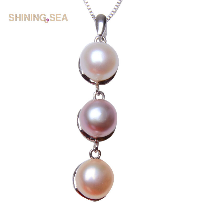 100% AAAA Natural Fresh water pearl Necklaces & Pendant with 925 sterling silver Multicolor pearls necklace(China (Mainland))