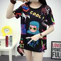 2016 Harajuku Summer kawaii women t shirt Character bulldog unicorn cool girl Print t shirt O