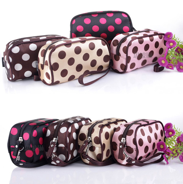 Makeup Bag Necessaries Purse Organizer Lovely Dot Cosmetics Bag storage bag New  Free Shipping J022