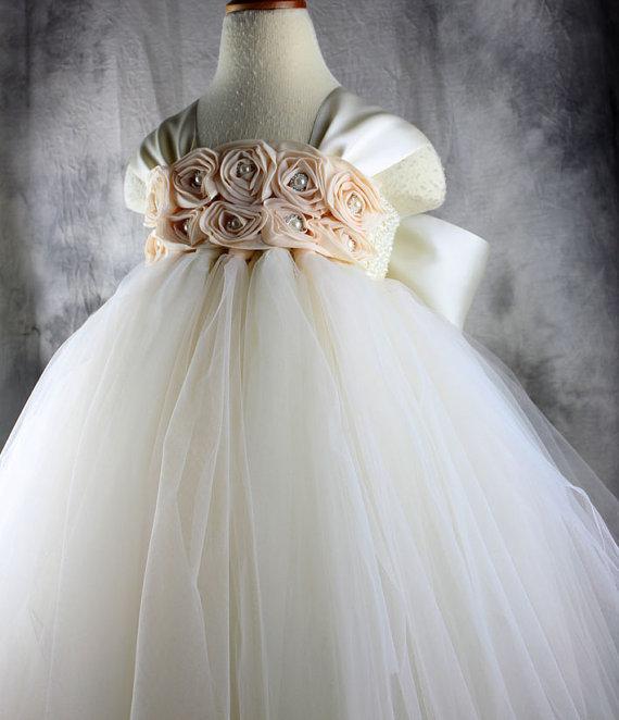Flower girl dress Ivory Champagne Tutu dress Wedding dress Birthday dress baby frocks(China (Mainland))