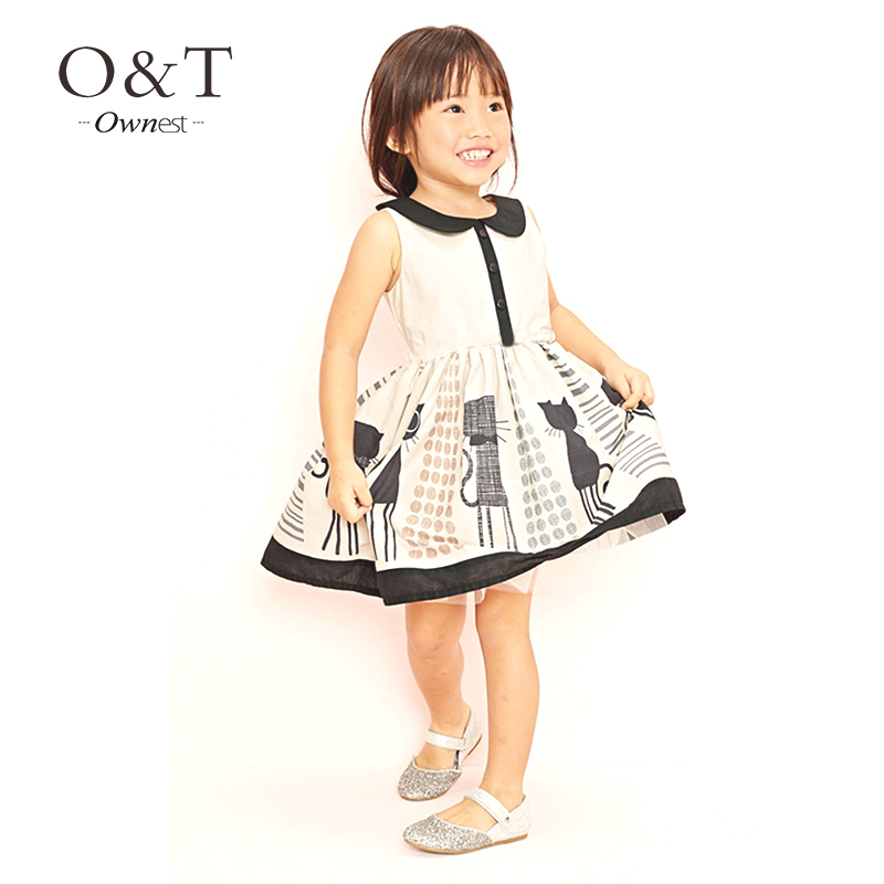 Hot sale summer girls dresses with cat design  brand print girls dress without belt for 2~7 children wear kids time vestidos(China (Mainland))