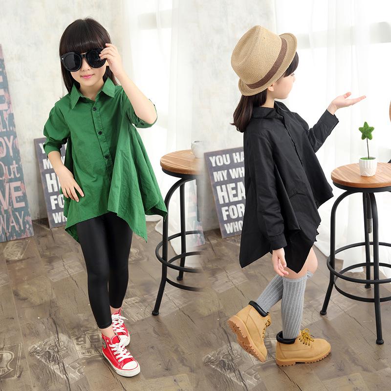 Children's Wear Girls Autumn Irregular Put A Word Shirt Long Sleeve Shirt Loose Kids Clothing Black Green Cotton