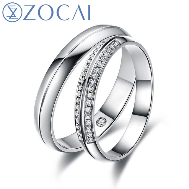 ZOCAI Happiness Real 0.15 CT Certified I-J /SI Diamond His and Hers Wedding Ring Sets 18K White Gold (Au750) Q00136AB