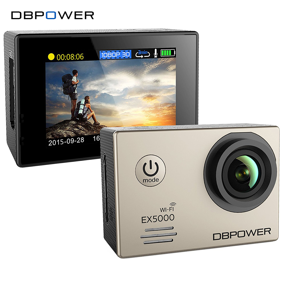 DBPOWER Original EX5000 WIFI 14MP Sports Action Camera 1080p 30fps waterproof Cam SJ5000 with 2 improved batteries + accessories