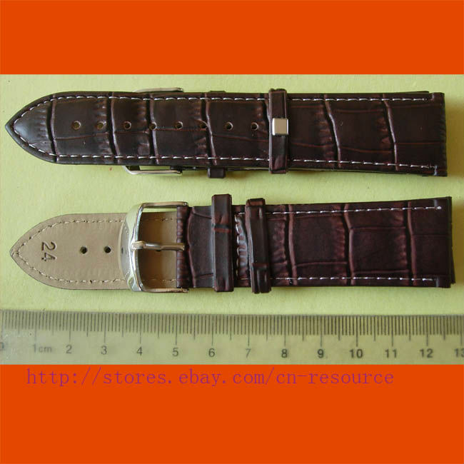 1 x 24 mm GENUINE COW LEATHER watch band coffee 07