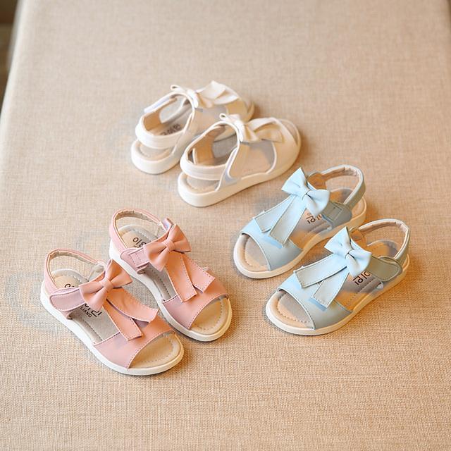 T2016 Летняя Детская Обувь Лук Девочек Сандалии С Открытым Носком Плоские Туфли для Девочек для Моды Случайные Принцесса Обувь Белый Розовый синий