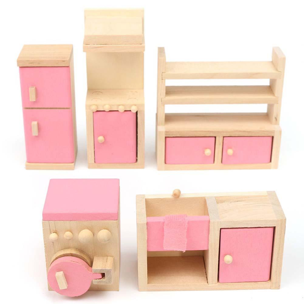 brand baby wooden doll house furniture miniature kitchen for kids children play furniture toy gift brand baby wooden doll house