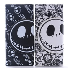 Nightmare Halloween Christmas Black White Jack Skull PU Leather for Hallowmas Long Layer Wallet Coins Cards Pouch Bag 19*9cm(China (Mainland))