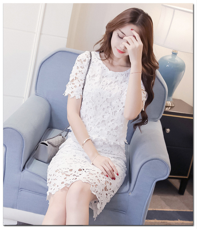 Women Lace Set  O Neck Crop Tops And Skirt Hollow Out Female Suit White Blue Pink 2 Pieces (6)