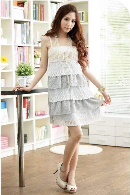 You got home 2013i sweet crocheted lace flower net tube top spaghetti strap slim summer basic high waist one-piece dress