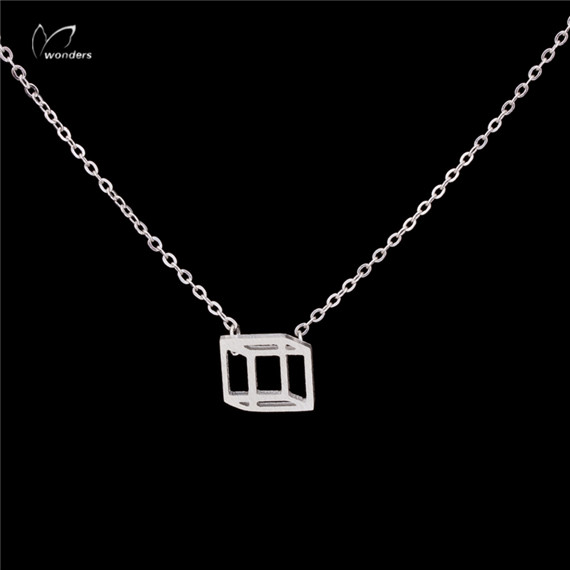 30pcs/lot 2016 Everyday Silver Gold Plated Geometric Jewelry Bridesmaids Gift Women 3D Cube Statement Necklaces Pendants(China (Mainland))