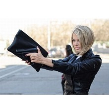 3D Gun Bag Fashion Women Double Pockect Shoulder Handbag Pistol Cubic Effect Handgun Envolope 2015 Summer New Black
