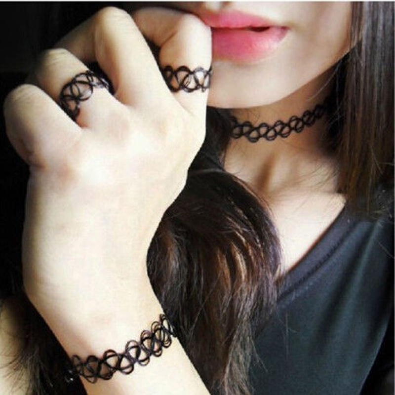 1 Set Summer Style Collares Women Girls Vintage Stretch Tattoo Choker Necklace Retro Gothic Punk Elastic Adjustable Stretchy  -  ^_^ Enjoy ^_^ store