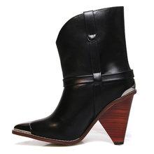 WETKISS Yılan Derisi yarım çizmeler Kadın Başak Topuklu Yüksek Ahşap Botları Femme Hakiki Deri Metal Sivri Burun Ayakkabı Bayanlar Sonbahar(China)