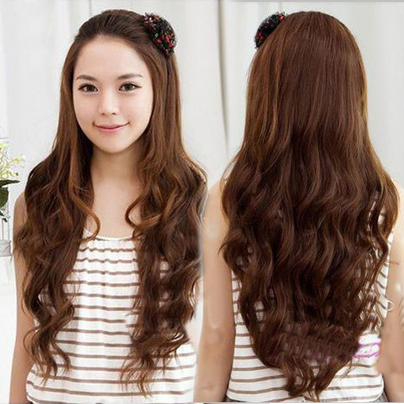 Womens Girls 4 color New Fashion Romantic 3/4 Full Hair Long Wavy Curly Half Wig Black Brown Flaxen #L04039 - Shanghai YY Co. Ltd. store