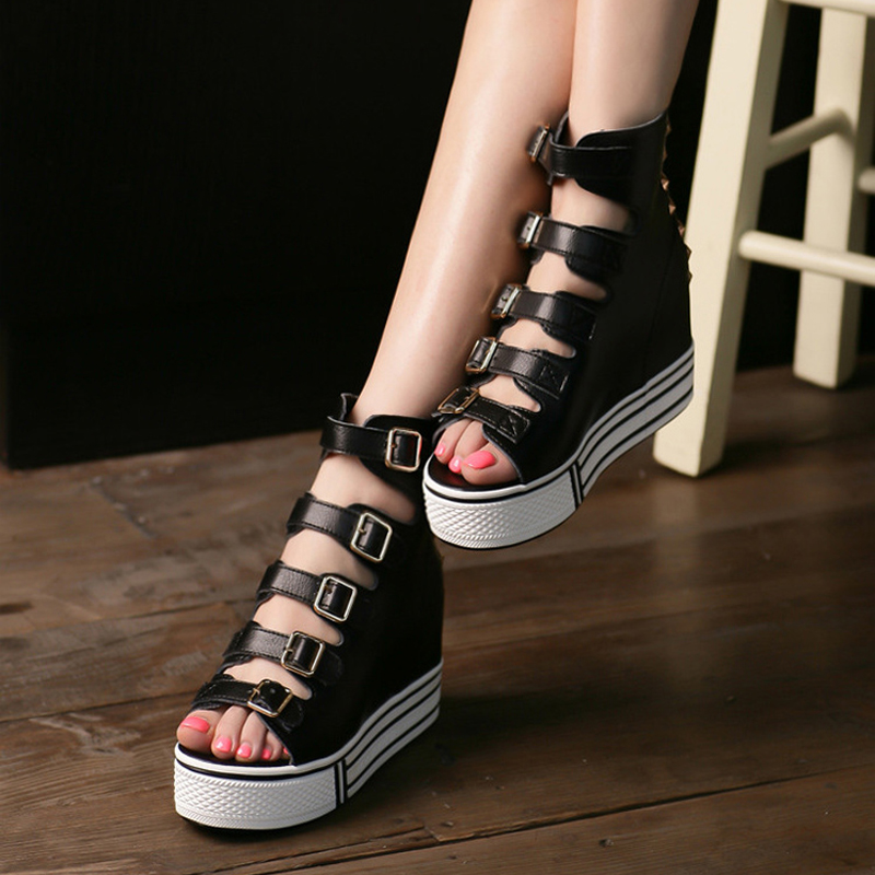 Spring summer wedges open toe shoe woman genuine leather sandals platform female casual shoes women's - JACKEN ZOU's store