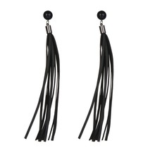 GREIT Fashion Jewelry Black PU Leather Tassel Earrings Pendientes Women Jewelry Long Earrings Accessories Gifts Brincos JE16138(China (Mainland))