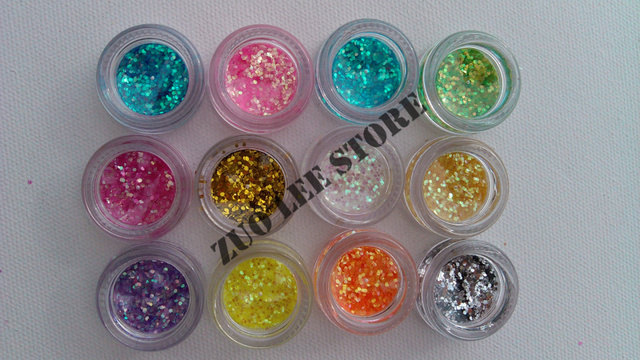 NEW Retail Box 12Color/set Acrylic UV Gel NAIL ART Glitter dust Decoration Design Acylic Tips + Free Shipping