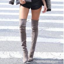 새로운 무릎 부츠 여성 신발 겨울 스트레치 부츠 따뜻한 하이힐 부츠 신발(China)