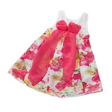 Children Baby One Piece Dress Hollow Out Chiffon Big Bow Dress Girls Lace Floral Reverse Dresses