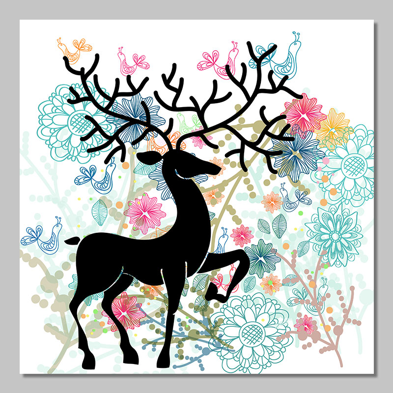 Christmas decoration deer posters Xmas animal antlers wall art picture Canvas Painting print for living room home decor unframed(China (Mainland))