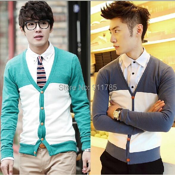 2015 Spring Autumn Knitting Stitching long sleeve Knitwear Sweaters men casual slim fit thin Cardigan men,M-2XL, - LANG MEI'S store