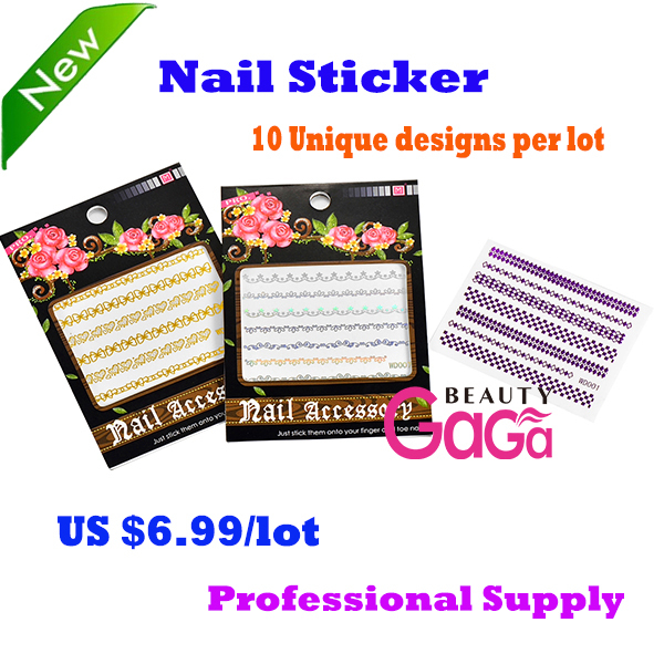 10pcs/lot Different Design Laser Color Water Transfer French Nail Decals Fingernail Tattoo Nail Art Stickers Manicure Tools(China (Mainland))