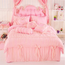 Korean princess tribute silk printing pattern ruffle lace 3/4pcs pink/purple bedding set twin full queen king size free shipping(China (Mainland))