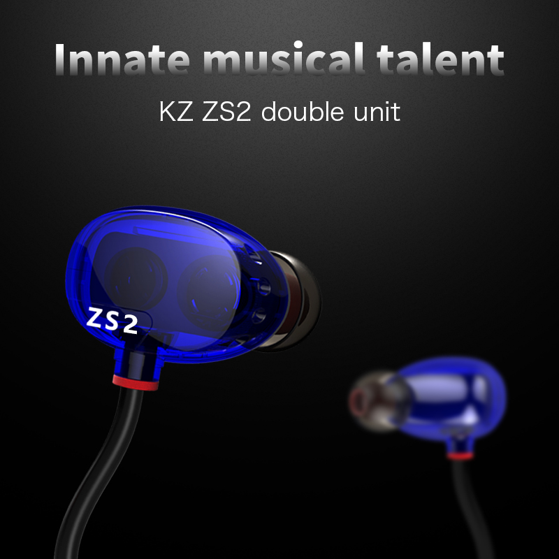 Free Shipping 2016 new original KZ ZS2/KZ-ZS2 in ear Earphones headphone Heavy Bass Dual Dynamic High Fidelity Definition Hifi<br><br>Aliexpress
