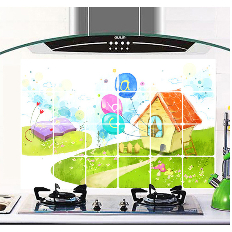 90X60cm Dream House Wall Stickers Aluminum Foil Large Glass Tile Stove Oil Dirt kitchen Oil Sticker DIY Home Decor Wall Art(China (Mainland))