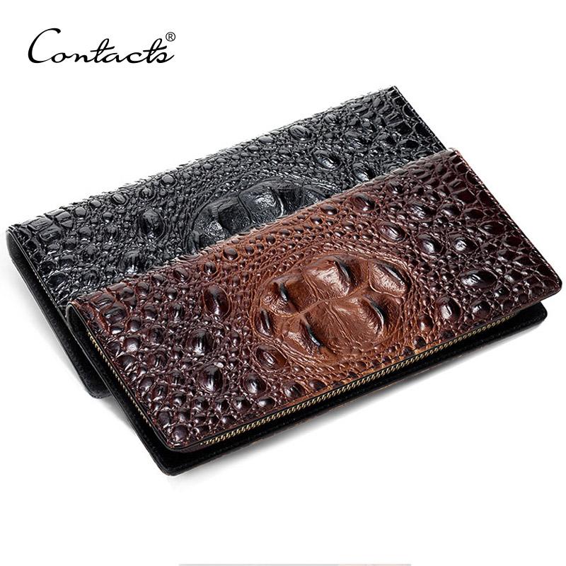 Brand New Leather Clutch Bag Men Genuine Leather Alligator Phone Holder Clutch Wallet Guarantee 100% Genuine Leather Zip-around(China (Mainland))