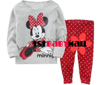 Free shipping! baby girls' pajamas Minnie pajamas set long sleeve shirt polka dot pants cartoon sleepwear homewear night gowns