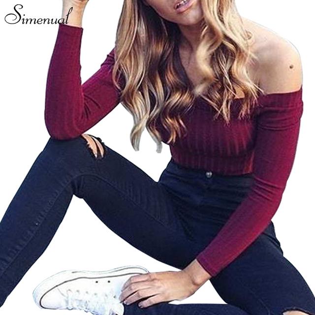 Осень новый 2016 с плеча растениеводство топ футболки горячей продажи с длинным рукавом твердые короткие футболки для женщин одежда мода тонкий футболку