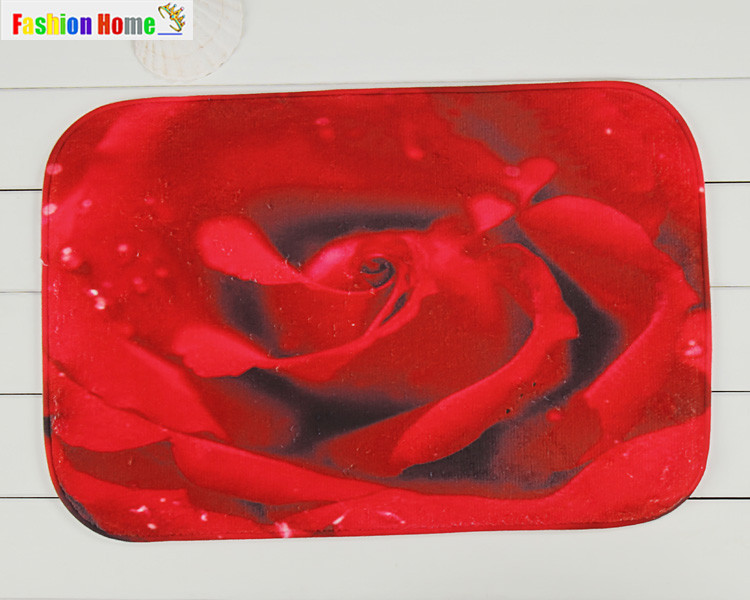 New Arrival Red Rose Front Door Mat Floor Coral Fleece Rug Mats For Hallway Fashion Non-slip Tapete Romantic Mat 40x60cm YK1954(China (Mainland))